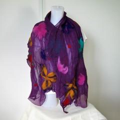 Felted Scarf Wool Silk Nuno felting Wrap Felt Shawl Purple