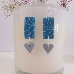Unique Turquoise Blue & Silver Hearts Everyday Fashion Earrings