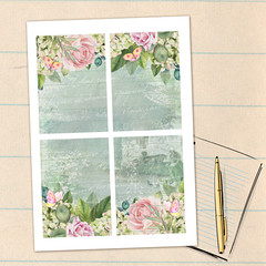 Shabby Roses French Journal Cards Set