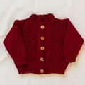 Cardigan, jacket, hand knit, lace feature, wool, size 0-1