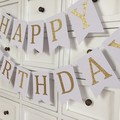Happy Birthday banner. White and Gold or silver. Birthday party, first birthday