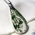 Green on White Teardrop Pendant