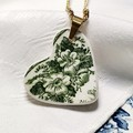 Green on White Offset Heart Pendant