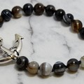 Striped Natural Agate Bracelet, Handknotted with Anchor.