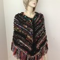 Size S - M Aussie Wool Poncho, Handspun, Handknit, chunky, multicoloured