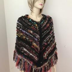 Size S - M Aussie Wool Poncho, Handspun, Handknit, chunky, multicoloured