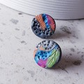 I WANT TO BE A COWGIRL arty grey blue pink rust green polymer stud gift earrings