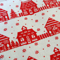 Red and White Christmas town - Christmas Cotton Fabric