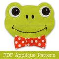 Frog Applique Template PDF Pattern Frog Face Applique Design