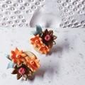 COUTURE FLORALS pretty garden 3D unique flower cluster orange brown earrings