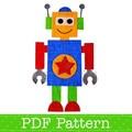 Robot Applique Template, PDF Pattern, Boys Applique Designs DIY