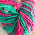 Handspun bulky yarn superfine merino art yarn in mixed shades of teal magenta