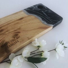 Resin Art Cheese Platter Board | Long Serving Board | Wooden Chopping Board