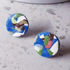 PICASSO SPARKLE blue white green orange palette polymer clay studs gift earrings