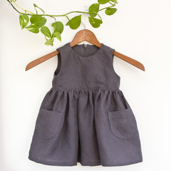 Handmade 100% Linen Toddler Dress Size 2