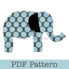Elephant Applique Template, Animal, DIY, Children, PDF Pattern