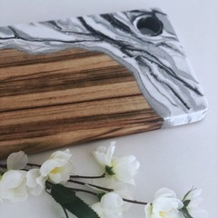 Resin Art Cheese Platter Board | Long Serving Board | Wooden Chopping Board