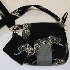 Over-shoulder small market bag & detachable coin purse - Black Leopard