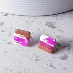 BEACH SHACK petite little square pink brown white earrings clay studs women