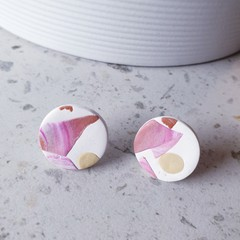 TERRAZZO pastels modern neutral pink white camel abstract round earrings studs