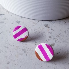 BEACH SHACK contemporary modern pink white brown striped polymer earrings studs