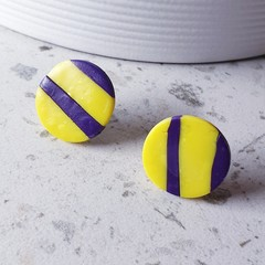 STRIPE ALERT contemporary modern yellow purple striped polymer earrings stud