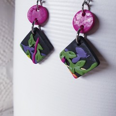 WINTER GARDEN black pink yellow green purple earrings clay dangles gift