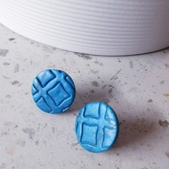TEXTURE ME teal blue texture patterned polymer round clay studs gift earrings