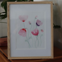 Pastel Pink Flowers in Watercolour