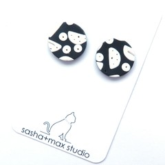 Moon black and white stud graphic earrings