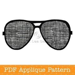 Sunglasses Applique Template Aviators PDF Pattern