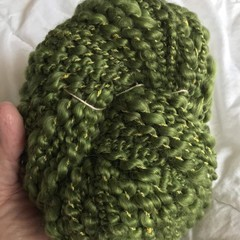Handspun bulky artyarn, soft green merino 100 grams 55 yards