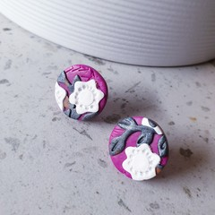 RENAISSANCE GARDEN art pink white grey texture polymer round clay studs earrings