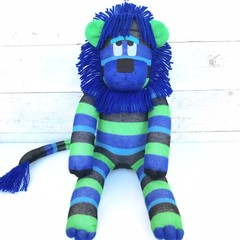 'Lewis' the Sock Lion - blue, turquoise, black & green stripes - *READY TO POST*