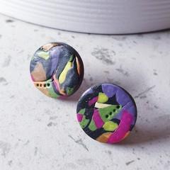 WINTER GARDEN palette black pink yellow green purple earrings clay studs gift