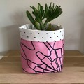 Small fabric planter | Storage basket | PINK ABSTRACT FLORAL