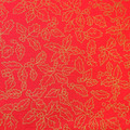 Red and Gold Christmas Holly - Christmas Cotton Fabric