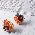 COUTURE FLORALS pretty garden 3D unique flower cluster orange brown earrings