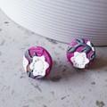 RENAISSANCE GARDEN art pink white grey texture polymer round clay studs earrings