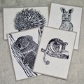 Australian animal card / Blank card greeting card / Handprinted Linocut Art Card