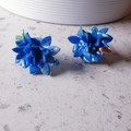 COUTURE FLORALS 3D unique sparkly blue big flower cluster handmade earrings gift