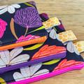 Clutch purse, mini clutch, cosmetic purse, padded zip purse, floral purse