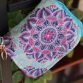 Over-shoulder small market bag & detachable coin purse - Peacock blue with Mande