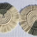 Macrame Coasters - Two Tone - Natural/Sage