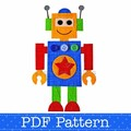 Robot Applique Template, PDF Pattern, Boys Applique Designs DIY