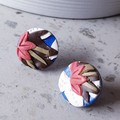 COASTAL GARDEN art blue coral white texture polymer round clay studs earrings