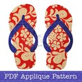 Thongs Applique Pattern. Flip Flops PDF Template. Shoes Applique Design
