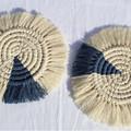 Macrame Coasters - Two Tone - Natural/Denim