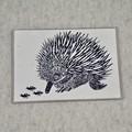 Australian animal card / Blank card greeting card / Handprinted Linocut Art Card