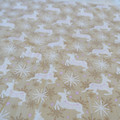 Christmas Cotton Fabric - Beige and white reindeer and snowflakes